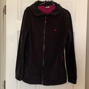 Addias black fleece jacket NWOT